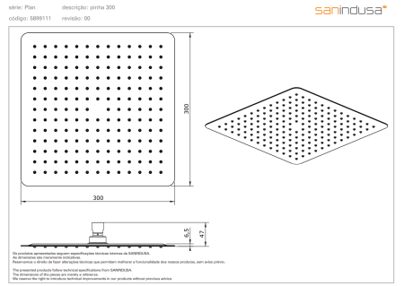 Верхний душ 300x300 mm Sanindusa Plan 5899111